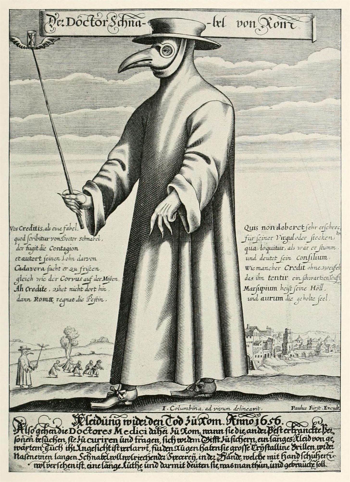 Image of the wordrobe worn by doctors attending to plague victims.